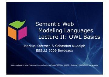 Lecture 2: Web Ontology Language OWL - Foundations of Semantic ...