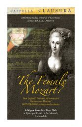 The Female Mozart? - Cappella Clausura