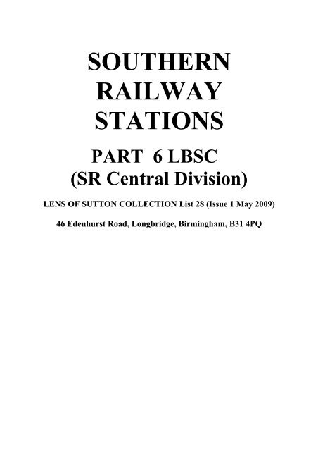 Rail Photo SR LBSC Sutton station signal box Surrey epsome branch