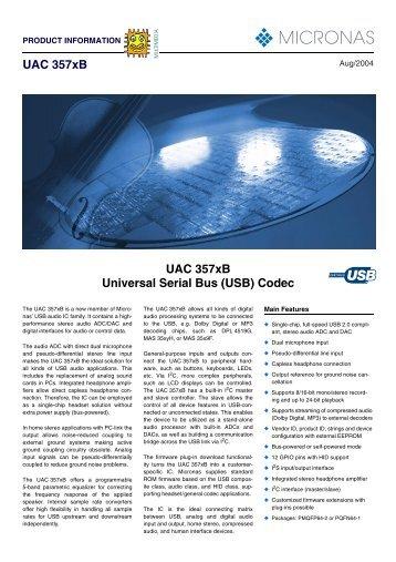 UAC 357xB UAC 357xB Universal Serial Bus - SemiconductorStore ...