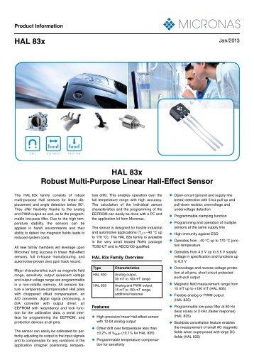 HAL 83x Robust Multi-Purpose Linear Hall-Effect Sensor
