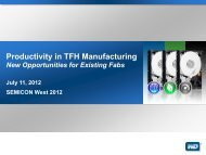 Productivity in TFH Manufacturing Abstract - SEMICON West