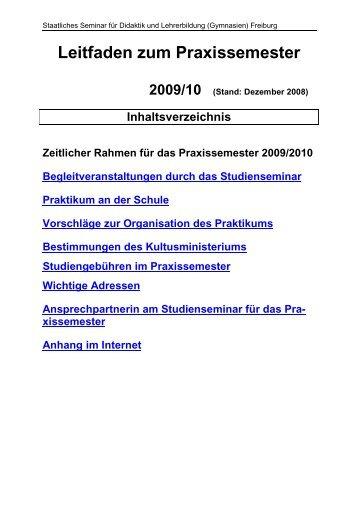 Leitfaden zum Praxissemester - Seminar Freiburg