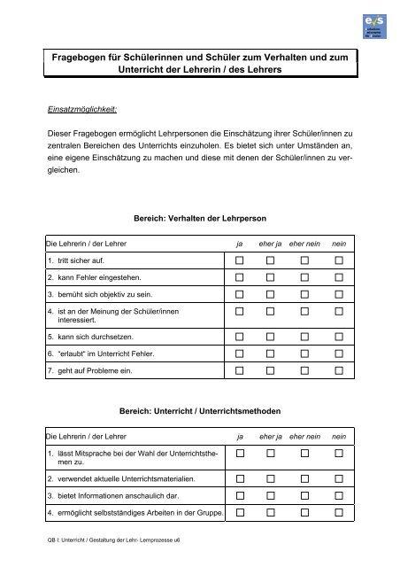 Fragebogen für Schülerinnen und Schüler zum Verhalten und zum ...