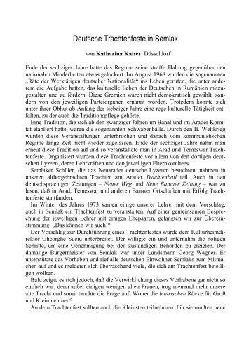Deutsche Trachtenfeste in Semlak