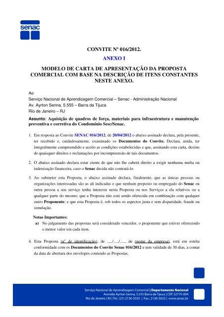 Convite N⺠0162012 Anexo I Modelo De Carta De Senac
