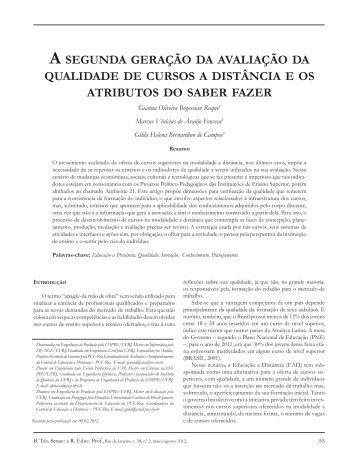 A SEGUNDA GERAÇÃO DA AVALIAÇÃO DA QUALIDADE ... - Senac