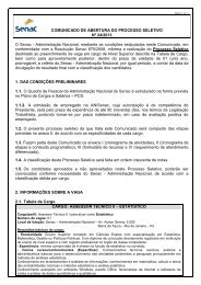 Comunicado de Abertura do Processo Seletivo 24/2013 - Senac
