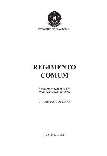 Regimento Comum do Congresso Nacional - Senado Federal