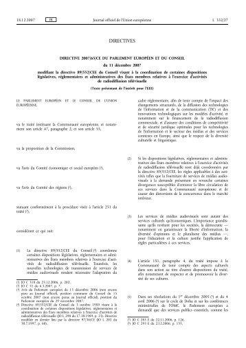 Directive 2007/65/CE - EUR-Lex