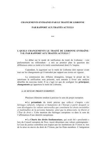 CHANGEMENTS ENTRAINES PAR LE TRAITÉ DE LISBONNE PAR ...