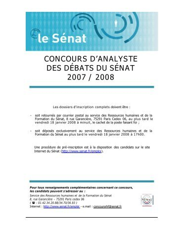 CONCOURS D'ANALYSTE DES DÉBATS DU SÉNAT 2007 / 2008
