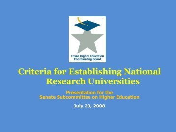 Presentation: Criteria for Establishing National Research Universities