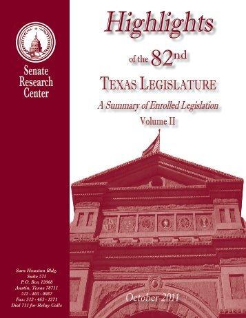 Highlights of the 82nd Legislature, Vol II - Senate