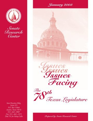 2003 Issue Facing the 78th - Senate