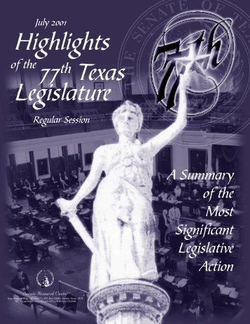Highlights 77th Texas Legislature - Senate