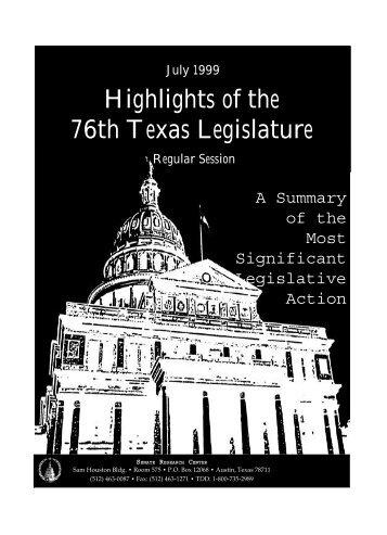 Highlights of the 76th Texas Legislature - Senate