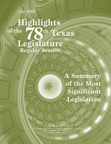 78th Legislature, Regular Session, 2003 - Senate