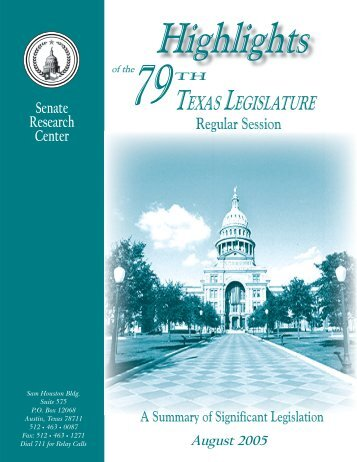 Highlights of the 79th Texas Legislature - Senate