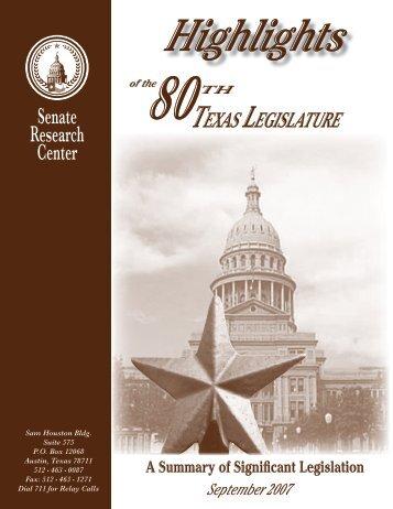 Highlights of the 80th Texas Legislature - Senate