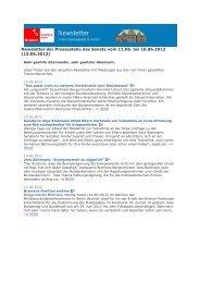 Newsletter vom 15. Juni 2012 - Senatspressestelle - Bremen