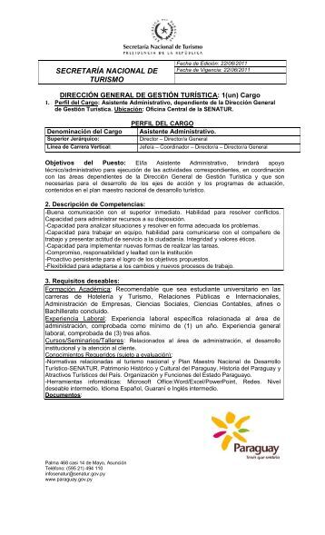 Propuesta Perfil cargo Asistente Administrativo Dirección General ...
