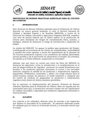 PROTOCOLO DE BUENAS PRACTICAS AGRICOLAS ... - senave