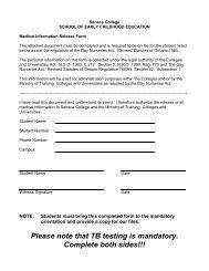 Please note that TB testing is mandatory ... - Seneca College