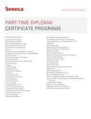PART-TIME DIPLOMA/ CERTIFICATE PROGRAMS - Seneca College