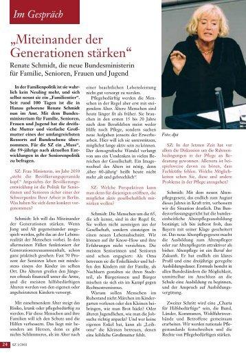 Aktuelles Interview: Bundesseniorenministerin Renate Schmidt