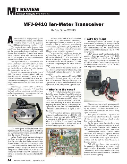 MFJ-9410 Ten-Meter Transceiver MT REVIEW - Monitoring Times
