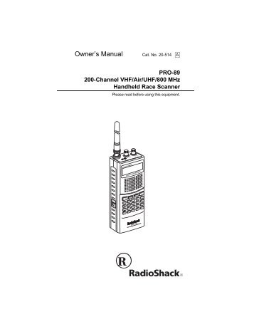 Radioshack pro-89 cd owner's manual 20-514a radio scanner cd.
