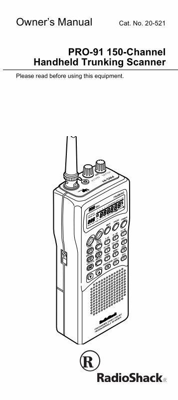 pro 95 dual trunk tracking handheld scanner radio shack rh yumpu com Radio Shack Scanners Radio Shack Pro 2.0