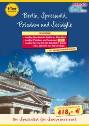 8-Tage Seniorenreise Berlin-Spreewald-Potsdam - Kurzurlaub Spezial
