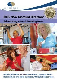 2009 NSW Discount Directory - Seniors Card - NSW Government