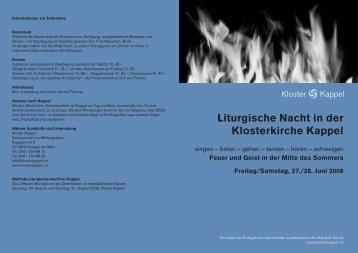Liturgische Nacht in der Klosterkirche Kappel - Seniorweb.ch