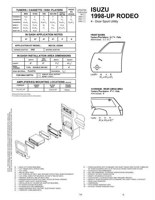 Isuzu Rodeo 1998-Up - Scosche Industries on chrysler pacifica wiring-diagram, honda cr-v wiring-diagram, land rover discovery wiring-diagram, bmw z4 wiring-diagram, ford f750 wiring-diagram, alfa romeo spider wiring-diagram, bmw x3 wiring-diagram, pontiac bonneville wiring-diagram, acura tl wiring-diagram, 2004 isuzu rodeo wiring-diagram, isuzu axiom wiring-diagram, chevrolet colorado wiring-diagram, subaru legacy wiring-diagram, 2001 isuzu npr wiring-diagram, range rover wiring-diagram, buick regal wiring-diagram, honda prelude wiring-diagram, subaru outback wiring-diagram, chevrolet trailblazer wiring-diagram,