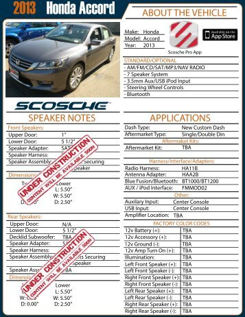 Honda Accord 2013 - Scosche