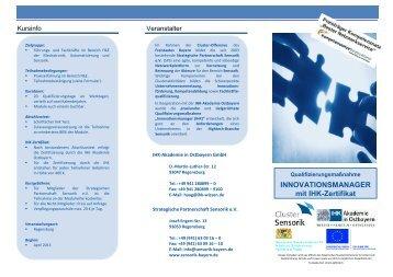 INNOVATIONSMANAGER mit IHK-Zertifikat - sensorik-bayern.de