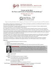 to view the workshop flyer - Sensorimotor Psychotherapy Institute
