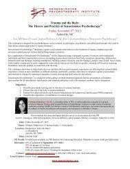 to view workshop flyer - Sensorimotor Psychotherapy Institute