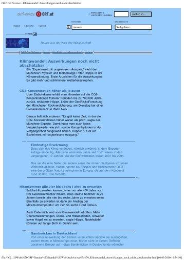 ORF ON Science - Klimawandel: Auswirkungen noch nicht ...