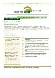 Newsletter Nr. 48 Juli 2013 - Sentinel Haus Institut