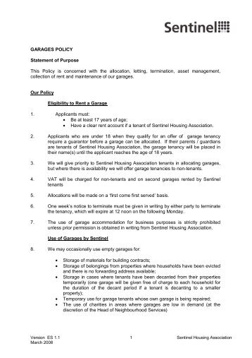 Garages Policy - Sentinel Housing Association