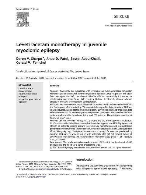 Levetiracetam monotherapy in juvenile myoclonic epilepsy