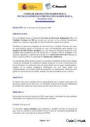 CURSO DE PROTECCIÓN RADIOLÓGICA: TÉCNICO ... - SEPR