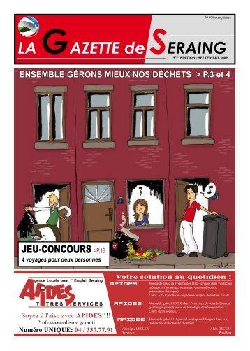 La Gazette de Seraing du mois de septembre