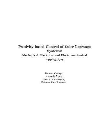 Passivity-based Control of Euler-Lagrange Systems: