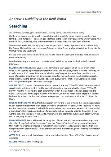 Searching Questions - Serco