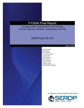 Final Report - FY04 - Strategic Environmental Research and ...